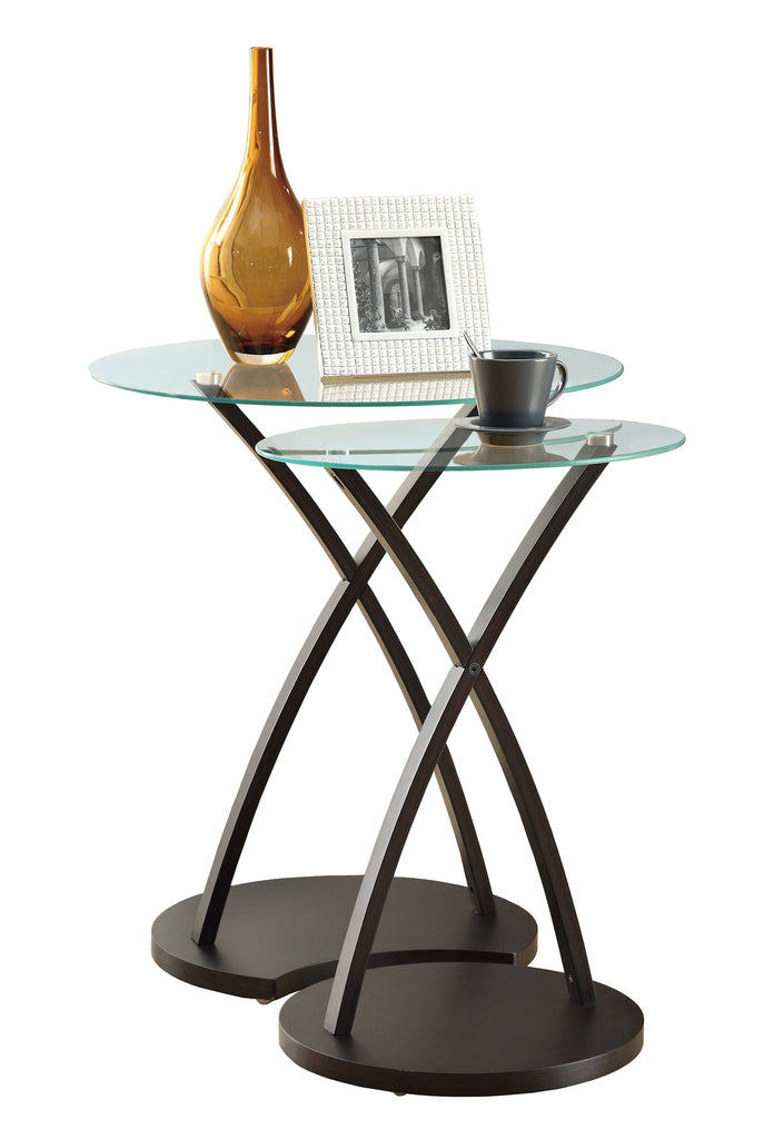 Monarch Specialties I 3013 Nesting Table - 2Pcs Set / Cappuccino Bentwood  021032258603