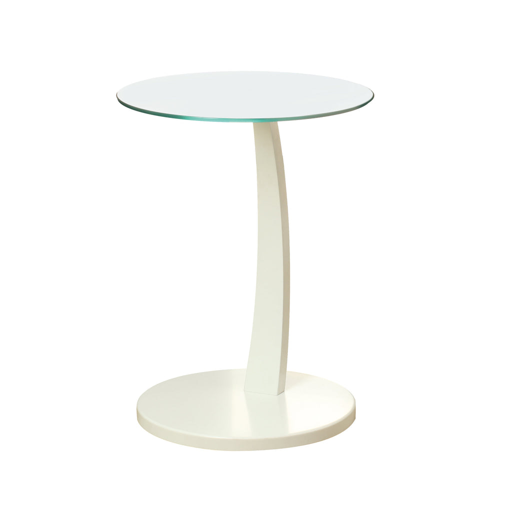 Monarch Specialties I 3017 Accent Table - White Bentwood With Tempered Glass 021032286255