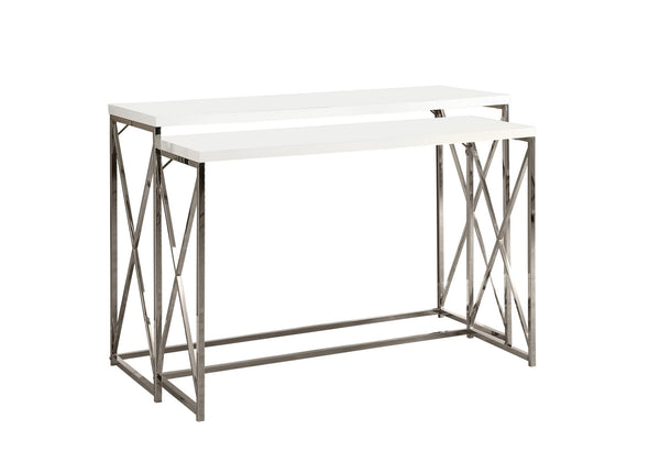 "Monarch Specialties I 3027 Accent Table - 46""L /2Pcs Set/ Glossy White/ Chrome Metal 021032258610"