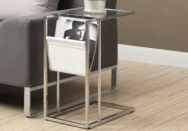 Accent Table - White / Chrome Metal With A Magazine Rack