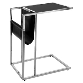 Monarch Specialties I 3038 Accent Table - Black / Chrome Metal With A Magazine Rack 878218000965