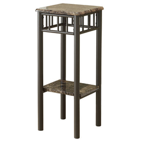 Monarch Specialties I 3044 Accent Table - Cappuccino Marble / Bronze Metal  021032257989