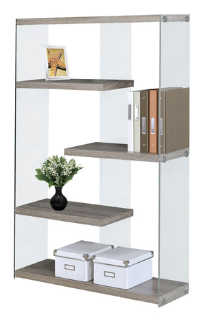 "Monarch Specialties I 3052 Bookcase - 60""H / Dark Taupe With Tempered Glass  878218000972"