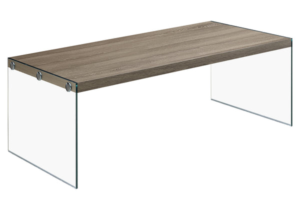 Monarch Specialties I 3054 Coffee Table - Dark Taupe With Tempered Glass 021032286354