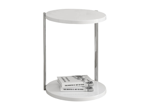 Monarch Specialties I 3056 Accent Table - Glossy White / Chrome Metal 021032286248