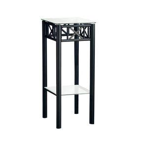 Monarch Specialties I 3078 Accent Table - Black Metal With Tempered Glass  021032277536