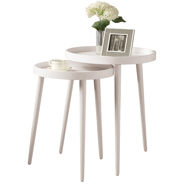 Monarch Specialties I 3081 Nesting Table - 2Pcs Set / White  021032284831