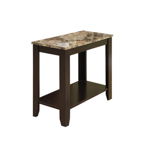 Monarch Specialties I 3114 Accent Table - Cappuccino / Marble Top  021032259297