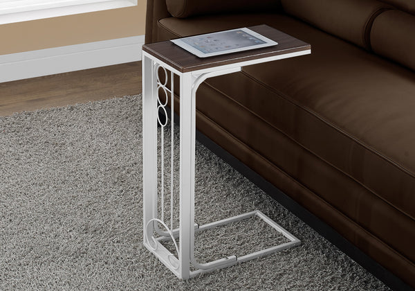Accent Table - Cherry Top / Antique White Metal