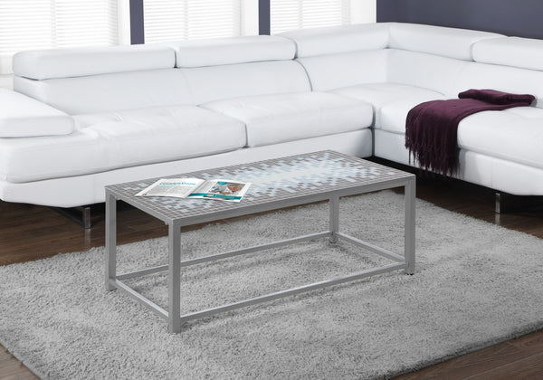 Coffee Table - Grey / Blue Tile Top / Hammered Silver