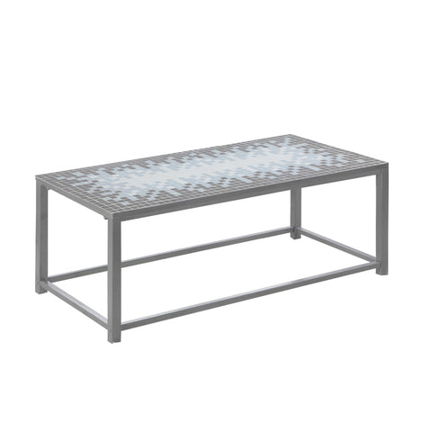 Monarch Specialties I 3140 Coffee Table - Grey / Blue Tile Top / Hammered Silver  878218004062