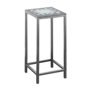 Monarch Specialties I 3145 Accent Table - Grey / Blue Tile Top / Hammered Silver 878218004116