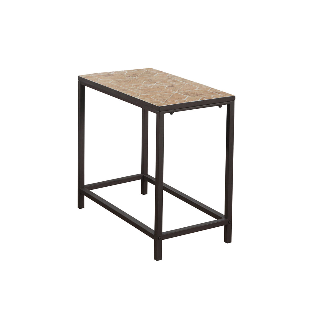 Monarch Specialties I 3163 Accent Table - Terracotta Tile Top / Hammered Brown  878218004161
