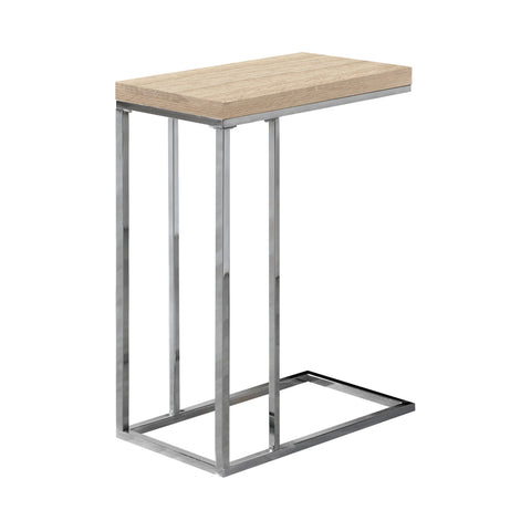 Monarch Specialties I 3203 Accent Table - Natural With Chrome Metal  021032286392