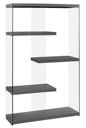 "Monarch Specialties I 3224 Bookcase - 60""H / Grey With Tempered Glass 878218009944"