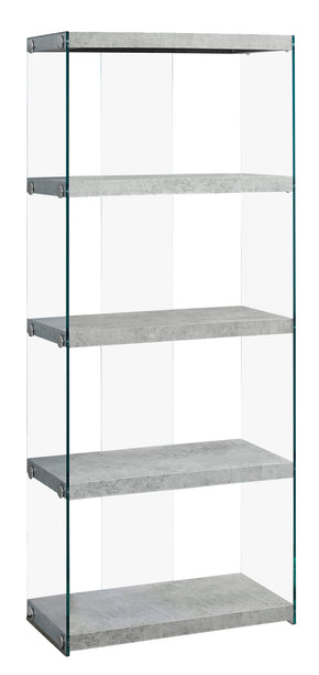 "Monarch Specialties I 3233 Bookcase - 60""H / Grey Cement With Tempered Glass 878218009982"