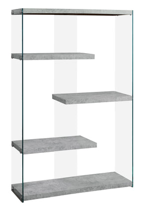 "Monarch Specialties I 3234 Bookcase - 60""H / Grey Cement With Tempered Glass 878218009999"