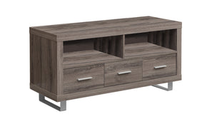 "Monarch Specialties I 3250 Tv Stand - 48"" L / Dark Taupe With 3 Drawers 021032288594"