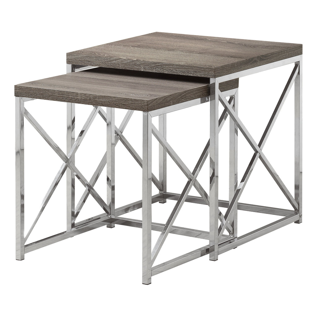 Monarch Specialties I 3255 Nesting Table - 2Pcs Set / Dark Taupe With Chrome Metal  021032286309