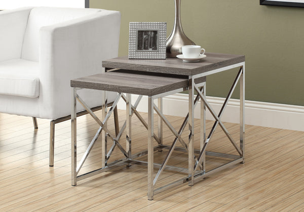 Nesting Table - 2Pcs Set / Dark Taupe With Chrome Metal