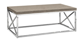 Monarch Specialties I 3258 Coffee Table - Dark Taupe With Chrome Metal 021032286200