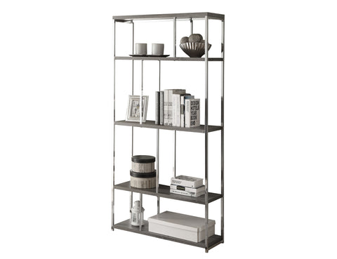 "Monarch Specialties I 3260 Bookcase - 72""H / Dark Taupe With Chrome Metal  021032289881"