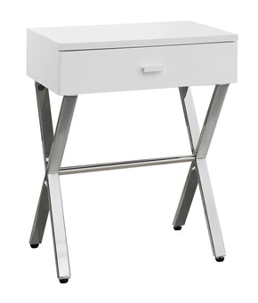 "Monarch Specialties I 3262 Accent Table - 24""H / Glossy White / Chrome Metal 680796000073"