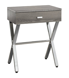 "Monarch Specialties I 3263 Accent Table - 24""H / Dark Taupe / Chrome Metal 680796000080"