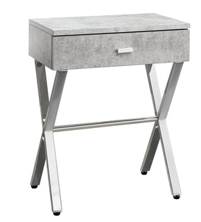 "Monarch Specialties I 3264 Accent Table - 24""H / Grey Cement / Chrome Metal 680796000097"