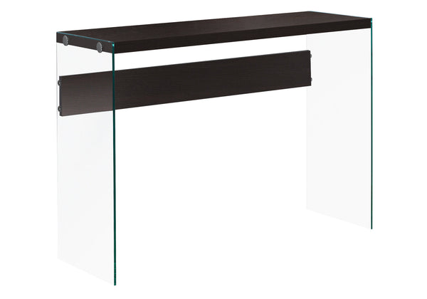 "Monarch Specialties I 3282 Accent Table - 44""L / Cappuccino / Tempered Glass 878218001054"