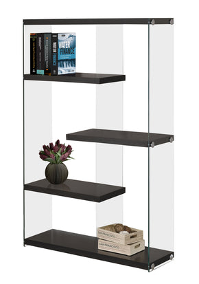 "Monarch Specialties I 3284 Bookcase - 60""H / Cappuccino With Tempered Glass  878218001078"