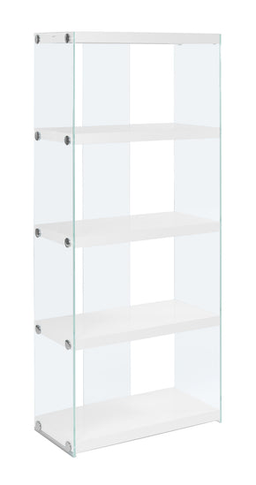 "Monarch Specialties I 3289 Bookcase - 60""H / Glossy White With Tempered Glass  878218001115"