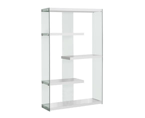 "Monarch Specialties I 3290 Bookcase - 60""H / Glossy White With Tempered Glass  878218001122"