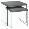Nesting Table - 2Pcs Set / Glossy Grey / Tempered Glass