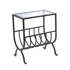 Monarch Specialties I 3308 Accent Table - Stardust Brown Metal With Tempered Glass 021032257576