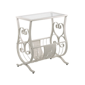Monarch Specialties I 3312 Accent Table - Antique White Metal With Tempered Glass 878218003423