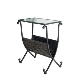 Monarch Specialties I 3313 Accent Table - Black / Taupe Mix Metal W/ Tempered Glass 021032257590
