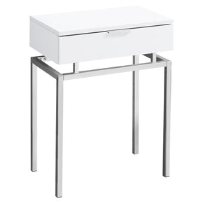 "Monarch Specialties I 3460 Accent Table - 24""H / Glossy White / Chrome Metal  680796013370"