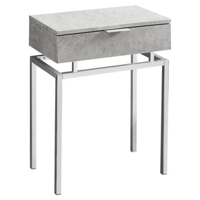 "Monarch Specialties I 3461 Accent Table - 24""H / Grey Cement / Chrome Metal  680796013387"