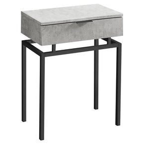 "Monarch Specialties I 3462 Accent Table - 24""H / Grey Cement / Black Nickel Metal  680796013394"