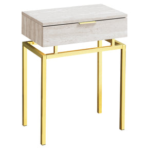 "Monarch Specialties I 3463 Accent Table - 24""H / Beige Marble / Gold Metal  680796013400"