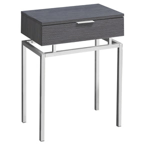 "Monarch Specialties I 3464 Accent Table - 24""H / Grey / Chrome Metal  680796013417"