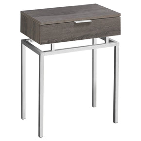 "Monarch Specialties I 3465 Accent Table - 24""H / Dark Taupe / Chrome Metal  680796013424"