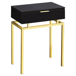 "Monarch Specialties I 3466 Accent Table - 24""H / Cappuccino / Gold Metal  680796013431"