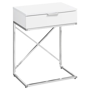 "Monarch Specialties I 3470 Accent Table - 24""H / Glossy White / Chrome Metal  680796013448"