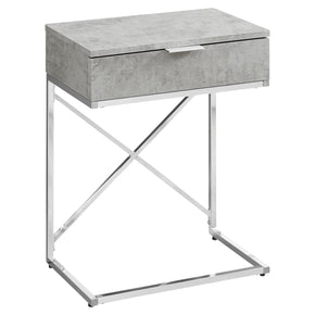 "Monarch Specialties I 3471 Accent Table - 24""H / Grey Cement / Chrome Metal  680796013455"