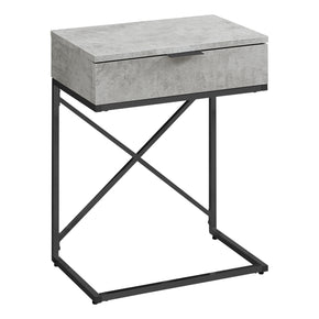 "Monarch Specialties I 3472 Accent Table - 24""H / Grey Cement / Black Nickel Metal  680796013462"