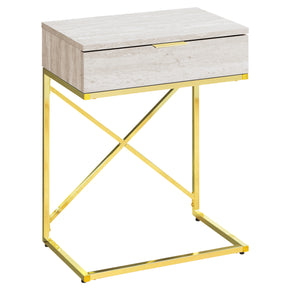 "Monarch Specialties I 3473 Accent Table - 24""H / Beige Marble / Gold Metal  680796013479"