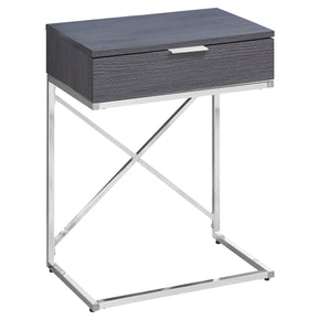 "Monarch Specialties I 3474 Accent Table - 24""H / Grey / Chrome Metal  680796013486"