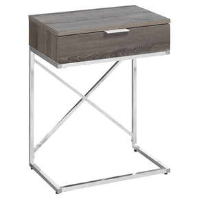 "Monarch Specialties I 3475 Accent Table - 24""H / Dark Taupe / Chrome Metal  680796013868"